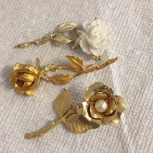 Trio of Rose Brooches
